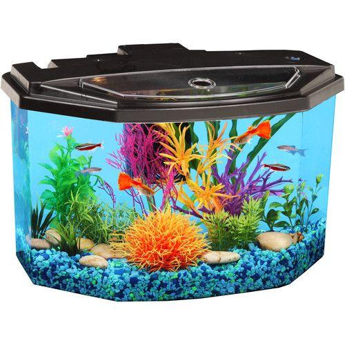 """Hawkeye 3 gal Semi-Hex Aquarium Kit LED Lighting and Filter 14.75""""L x 10.25""""W x 9.5""""H"""