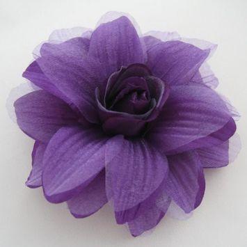 Sara Monica Flower Hair Clip and Pin Dahlia_Purple