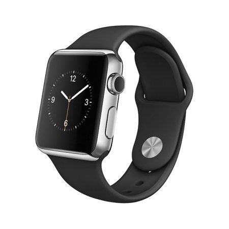Apple Computers Apple Watch Stainless Steel Case (38mm, Black Sport Band, UK)