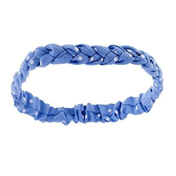 Intriguing Soft And Stretchy Braided Style Washable Headband / Hairband / Hair Holder In Blue Color With White Dots Print By VAGA