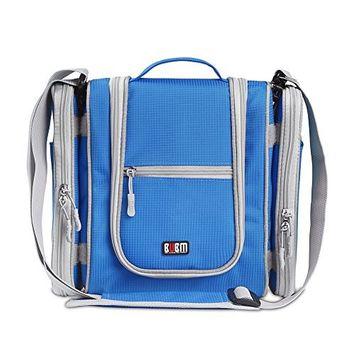Premium Hanging Toiletry Bag Travel Toiletries Organizer Bag - Travel Makeup Cosmetic Organizer Bag Toiletry Kit for Men Women - Sky Blue