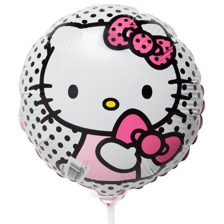 """9"""" Polka Dot Hello Kitty Balloon with Stick"""