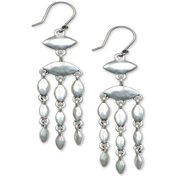 Silver-Tone Scallop Fringe Drop Earrings