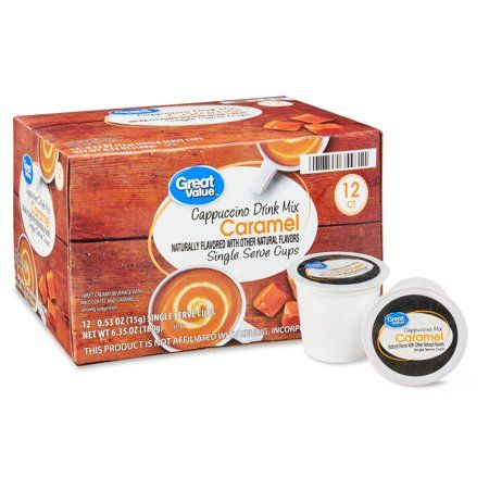 Great Value Caramel Cappuccino Mix Coffee Pods, 12 Count