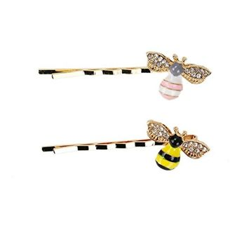 IDS 12PCS Cute Honeybee Metal Hairpin Bee Crystal Hair Side Clip Barrette Bobby Pin Hairpin Hair Accessories for Women Girls