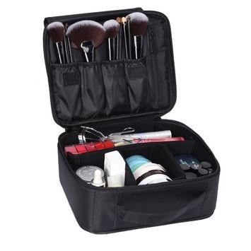 LOUISE MAELYS Portable Velcro Makeup Artist Train Case Makeup Organizer Bag for Travel