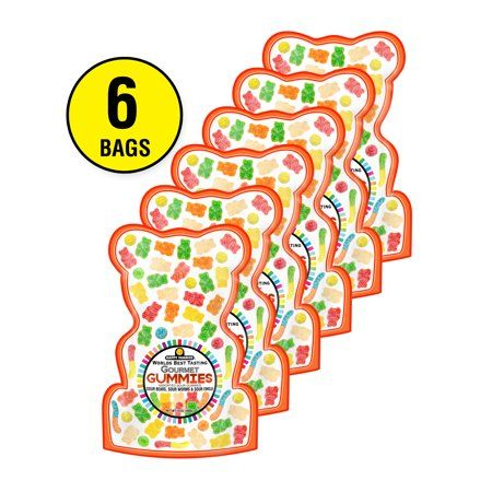 Happy Yummies Worlds Best Tasting Gourmet Gummies Sour Gummy Assortment 14oz (6 Pack)