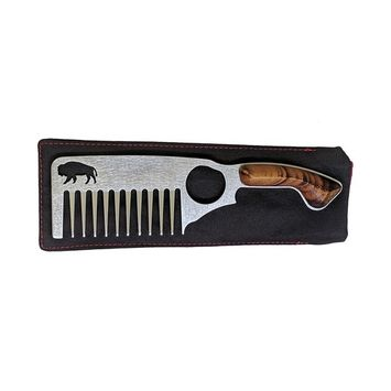 Thick Beard Comb No.3 - Stainless Steel Anti-Static & No Snag with Large Tooth For Beards with Premium Carrying Sheath by Bisson Combs