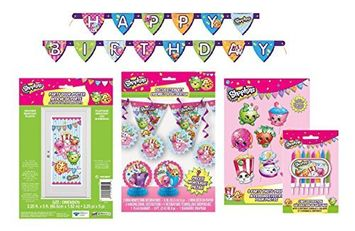 Shopkins Ultimate Birthday Party Decorating Bundle ~ Banners, Candles, Door Poster and More! ...