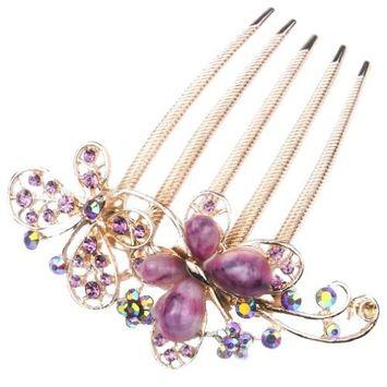 FOONEE Beautiful Flowers Crystal Hair Clips,Purple