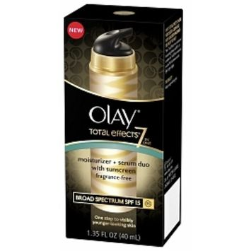 OLAY Total Effects 7 in 1 Moisturizer + Serum Duo with Sunscreen Broad Spectrum SPF 15, Fragrance-Free 1.35 oz