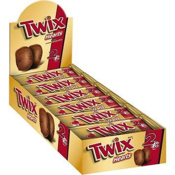 TWIX Valentine Caramel Share Size Heart Chocolate Cookie Bar Candy 2.12-oz Bar 24-ct Box (Pack of 4)