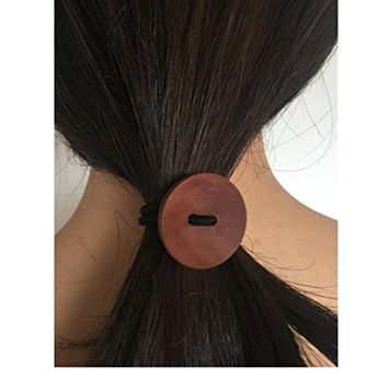 DZT1968 Women Simple Wood Elastic Hair Tie Rope Band Ponytail Holder Button Fashion New