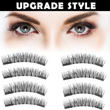 Magnet Eyelashes-Dual Magnetic False Eyelashes with NO GLUE 3D Fiber Reusable Best Fake Lashes Extension for Natural Look,Perfect for Deep Set Eyes (-2 Pair/8 Pieces)