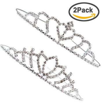 Exacoo Pack of 2 Pretty Rhinestone Tiara Crown Wedding Bridal Birthday Pageant Princess Hair Loop Headband Gorgeous Crown, Silver
