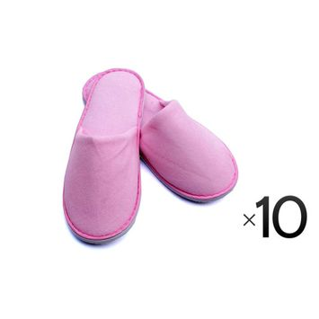 Luxurious Cotton Cloth Slipper Slippers Home Salon Spa Hotel Men Women Closed Toes - 10 Pairs - Pink