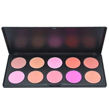 MSmask Pro 10 Colors Blusher Makeup Cosmetic Blush Powder Palette Pink Rose Peach