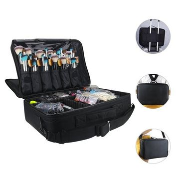 LOUISE MAELYS Large 3 Layers Makeup Artist Train Case Cosmetic Organizer Bag Shoulder Bag Back fit on Trolley for Travel
