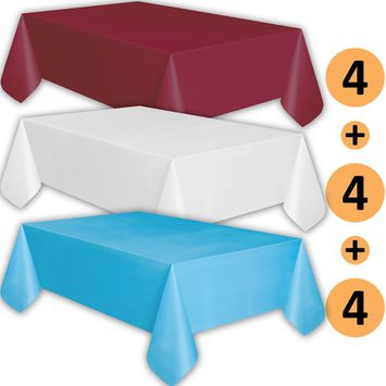 12 Plastic Tablecloths - Burgundy, White, Turquoise - Premium Thickness Disposable Table Cover, 108 x 54 Inch, 4 Each Color