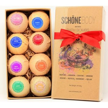 Schöne Extra Large Bath Bombs Gift Set - 8 - All Natural Essential Oils, Infused with Cocoa Butter, an Invigorating Multilayered Explosion of Color and Scent, For Every Bathing Experience (Natural)