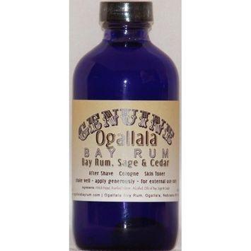 4 oz Genuine Ogallala Bay Rum Sage & Cedar Aftershave. Old-time looking bottle and label.