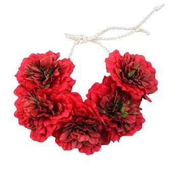 Alonea Big Flower Boho Wreath Crown Wedding Headband Floral Garland Hair Tied band