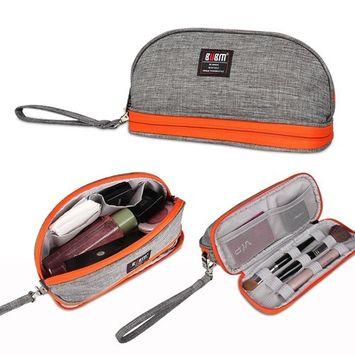 BUBM Universal Unisex Cord Handbag Case Makeup Cosmetic Storage Bags Pouch Travel Kit Organizer, Grey, Small