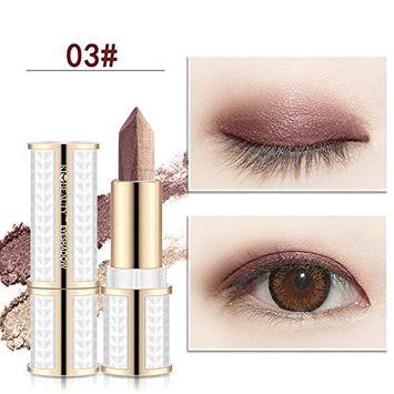 Huayang| New Waterproof Long Lasting Double Colors Eyeshadow Stick, Eye Shadow Stick Highlight Stick Pen Eye Makeup Stick 3#