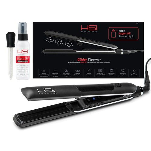HSI Professional Glider Steamer Ceramic Flat Iron | Dispenses Argan Oil Infused Steam, Added Moisture & Thermal Protection | Tourmaline Ionic Hair Straightener [Glider Steamer Flat Iron]
