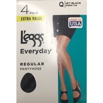 Hanes L'eggs Women's Everyday Regular Pantyhose, 4 Pair [name: actual_color value: actual_color-jetblack]