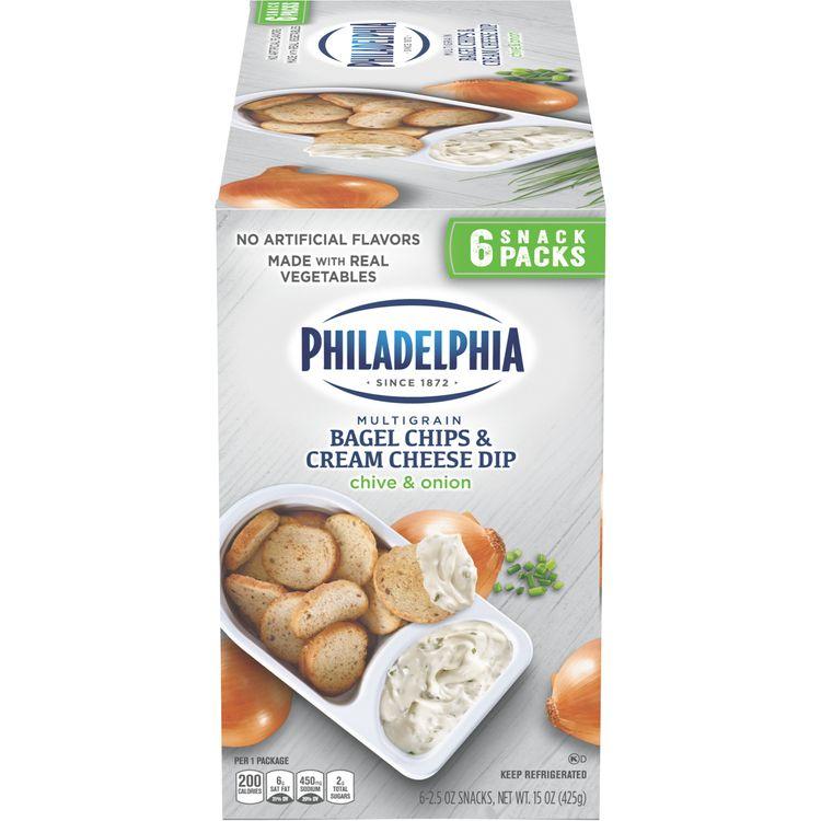 Philadelphia Multigrain Bagel Chips & Chive & Onion Cream Cheese Dip Snack