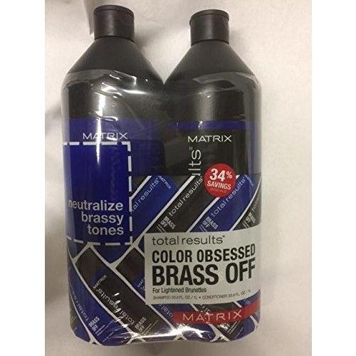 Matrix, Total result, brass off shampoo & conditioner for Lightened Brunettes , Shampoo 33.8 oz + conditioner 33.8 oz set