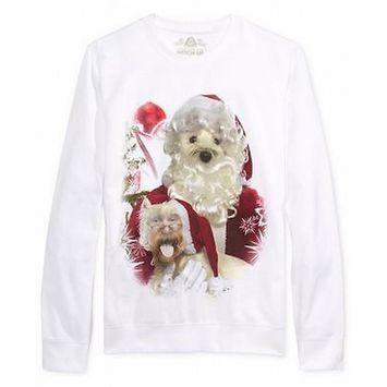 American Rag NEW White Mens Large L Santa Dog Graphic Crewneck Sweater [clothing_size_type: clothing_size_type-regular]