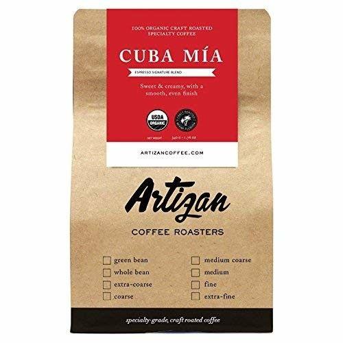 100% Organic Authentic Cuban Espresso - Cafe Cubano Cafecito - Intense Dark Roast - Cuba Mia Signature Blend - USDA Certified Organic - Roasted in Miami, FL (Whole Bean, 12oz)