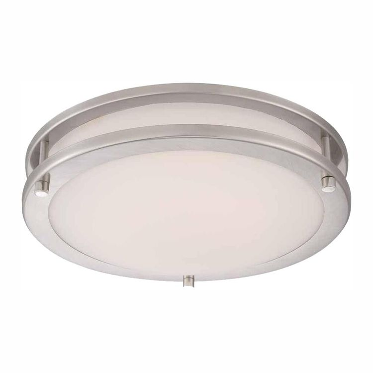 Hampton Bay Flaxmere 11.8 in. Brushed Nickel LED Flush Mount Ceiling Light with Frosted White Glass Shade