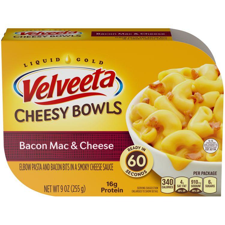 Velveeta Cheesy Bowls Bacon Mac and Cheese, 9 oz Box