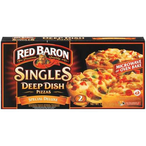 Red Baron Deep Dish Singles Pizzas, Microwaveable, 2 ea