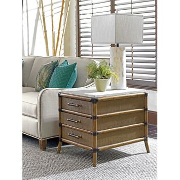 Tommy Bahama Twin Palms Veracruz End Table in Brown