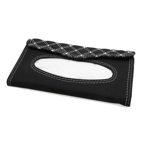 Auto Car Sun Visor Tissue Box Holder Napkin Paper Storage Case Cover Black White by Uxcell