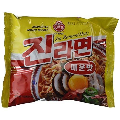 Ottogi Hot Jin Ramen Noodles, 4.23 Ounce (Pack of 20)