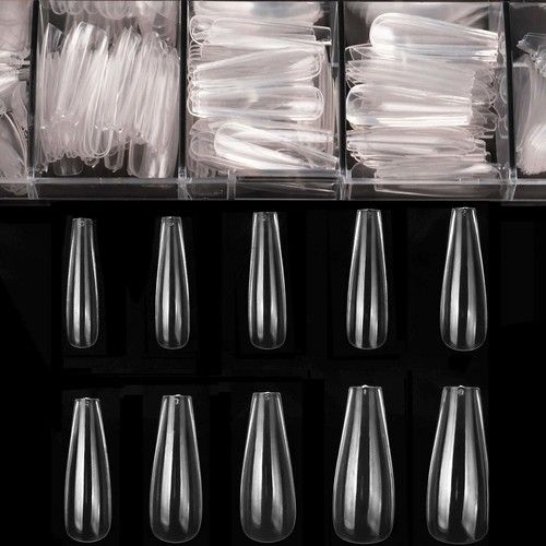 Coffin Nails Long Fake Nails - Clear Acrylic Nails Coffin Shaped Ballerina Nails Tips BTArtbox 500pcs Full Cover False Nail with Case for Nail Salons and DIY Nail Art, 10 Sizes