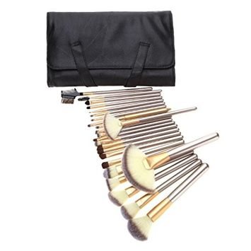 KaiCran 24pcs Fan Brushes Blusher Eye Shadow Brushes Set Kit With Brush Bag
