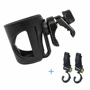 Cup Holder, Baby Stroller Cup Holder, 360 Degree Adjustable Rotating Cup Drink Holder for Walker, Baby Strollers, Bicycles, Strollers, Wheelchairs, Motorcycle(Come with 2 Pram Hooks )