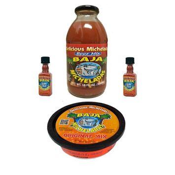 Combo Pack 3 in 1 Baja Micheladas Michelads Premade Mix, Salt Rim and 2x Michelada Shakers
