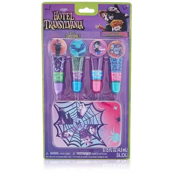 Townley Girl Hotel Transylvania Sparkly Lip Gloss Set For Girls, 4 pack with Decorative Tin
