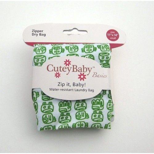 CuteyBaby Zip it Baby Zipper Dry Bag, Kelly Green Tribal, Small