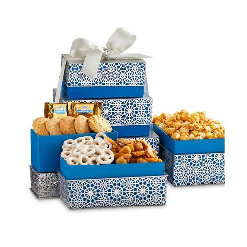 Sophisticated Snowflake Sweets Gift Tower