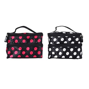 Oshide Double Layers Dotted Makeup Bags Travel Waterproof Portable Cosmetic Finishing Bag Makeup Case Hand Bag Tool Storage Toiletry