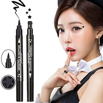 HuntGold HengFang Cool Black Dual-ended Waterproof Liquid Eyeliner Pen with Star Shape Tattoo Stamp Seal Cosmetic Tool