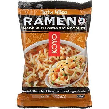 Koyo Dry Ramen - Tofu Miso - 2 oz - case of 12 - Vegan - Baked - Made with Organic Noodles